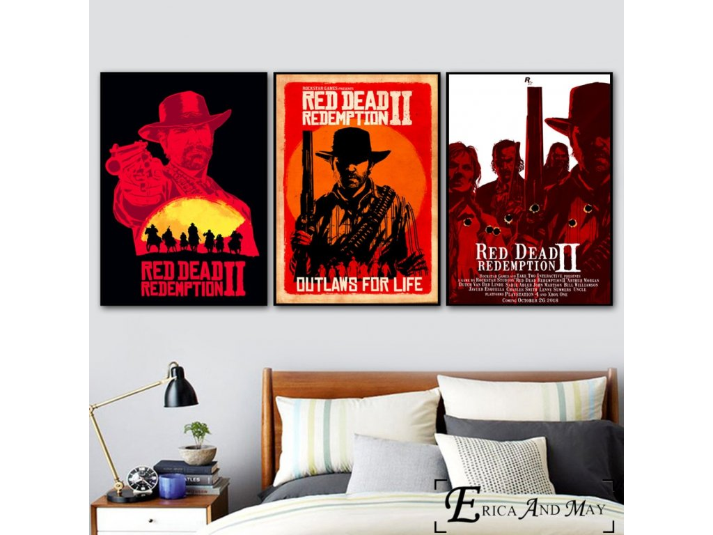 Red Dead Redemption 2 Video Game Wall Art Canvas Painting Poster For Home Decor Posters And 1