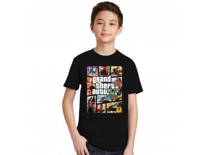 New Arrival GTA 5 boys T Shirt Grand Theft Auto Fashion Cool Kids Short Sleeve T Navy Blue