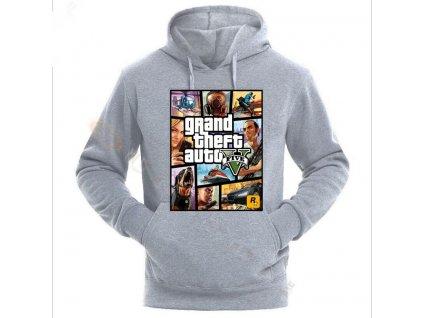 Grand Theft Auto GTA Men Street long sleeve with GTA 5 Hooded Gray