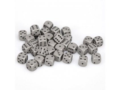 Sada 36 kostek  D6 12 mm šedá/černá