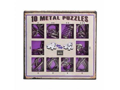 Sada 10 hlavolamů kov fialová