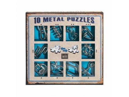 Sada 10 hlavolamů kov modrá