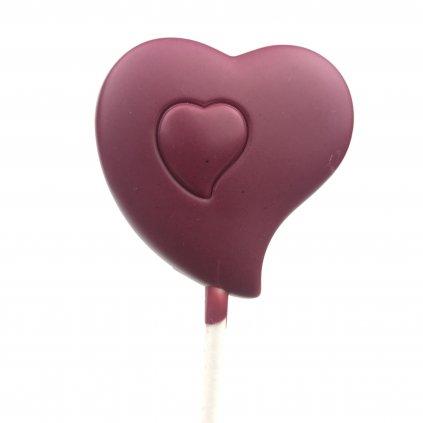 """Čokoládové lízátko """"Srdce"""", malinová 48% bílá čokoláda bio"""