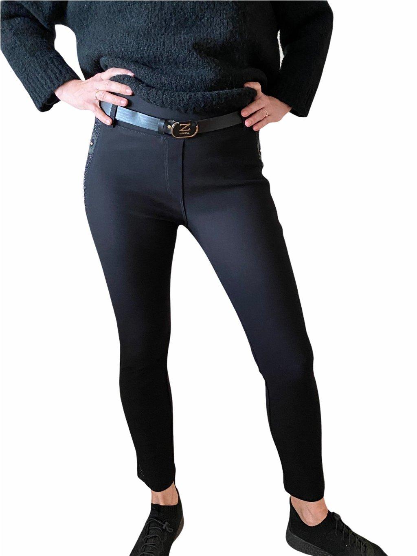 Dámské skinny kalhoty černé zdobené kameny