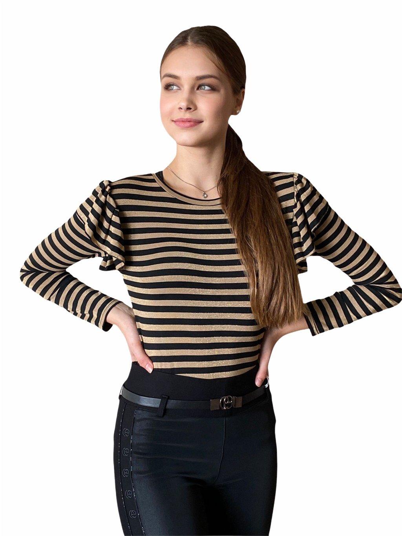 Dámské pruhované triko s dlouhým rukávem