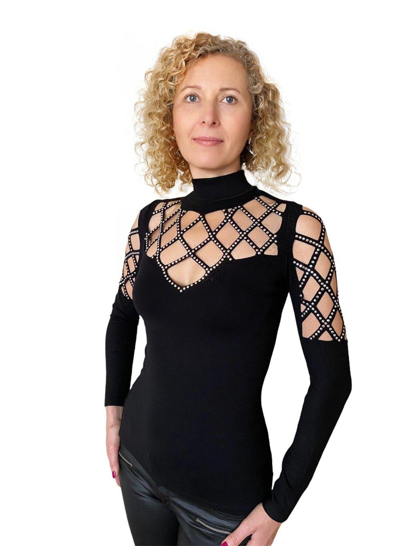 Dámský elastický top černý zdobený kameny Gloria