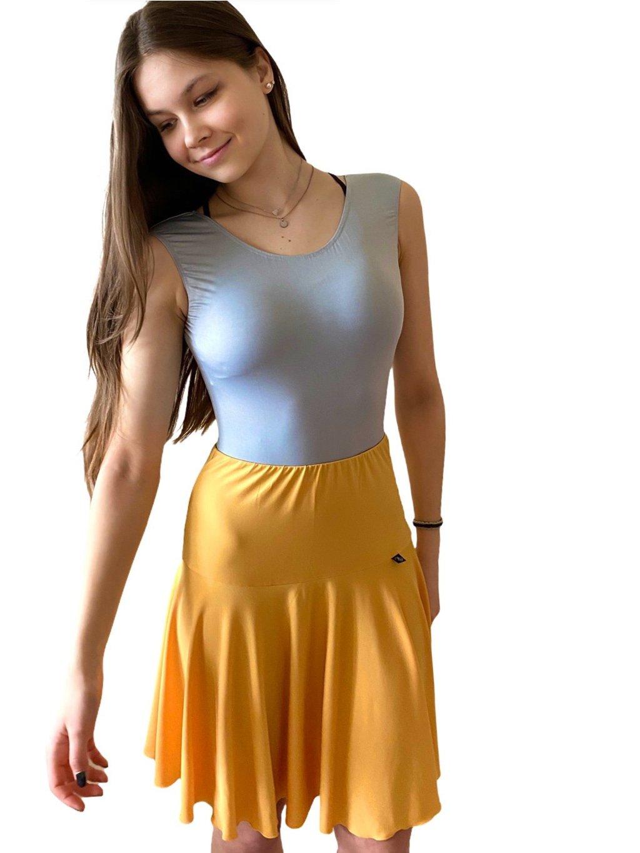 Dámská taneční sukně žlutá na latinu Jersey