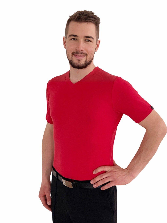 Pánské triko merino červené, výstřih do V