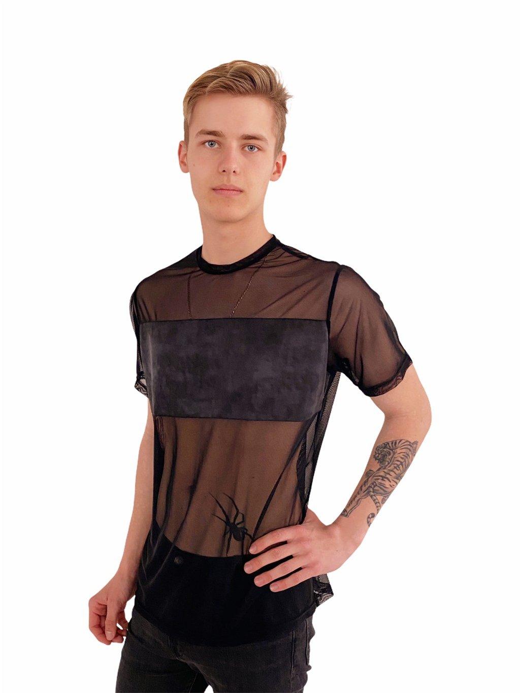 Pánské taneční triko z černého elastického tylu