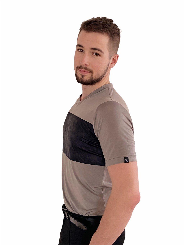 Pánské taneční triko Super Soft béžové, výstřih do V