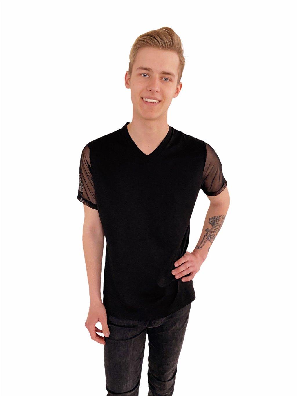 Pánské taneční triko z elastického černého tylu, výstřih do V