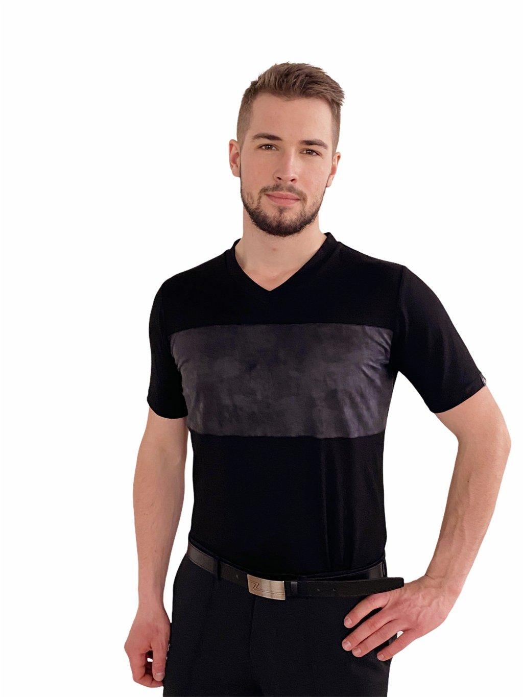 Pánské taneční triko Super Soft černé, výstřih do V