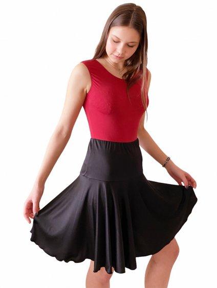 Dámská taneční sukně černá na latinu Jersey