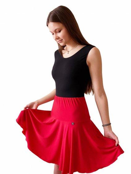 Dámská taneční sukně červená na latinu Jersey