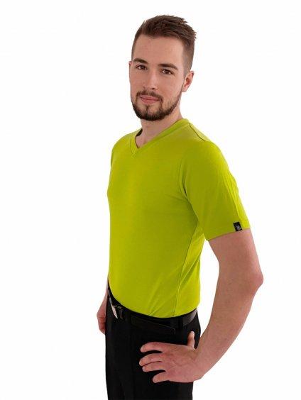 Pánské triko merino limetové, výstřih do V