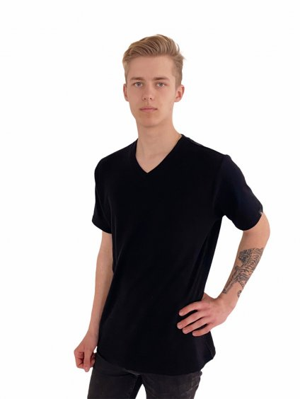Pánské triko černé merino s výstřihem do V