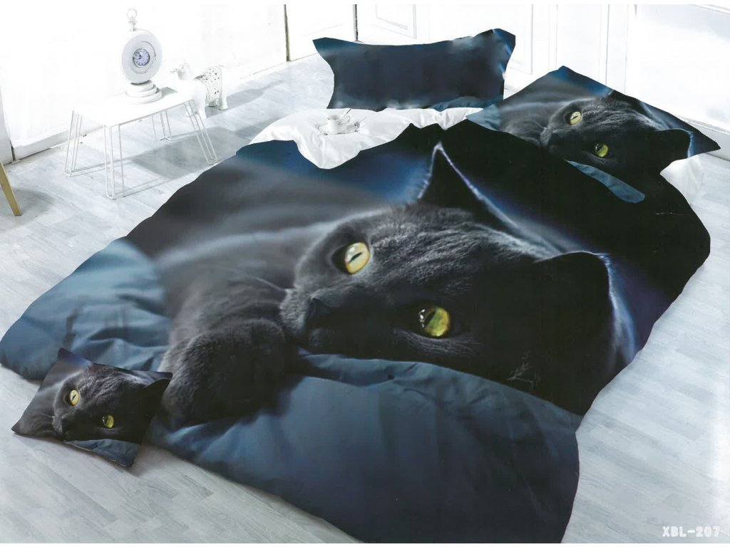 3D povlečení - černá kočka