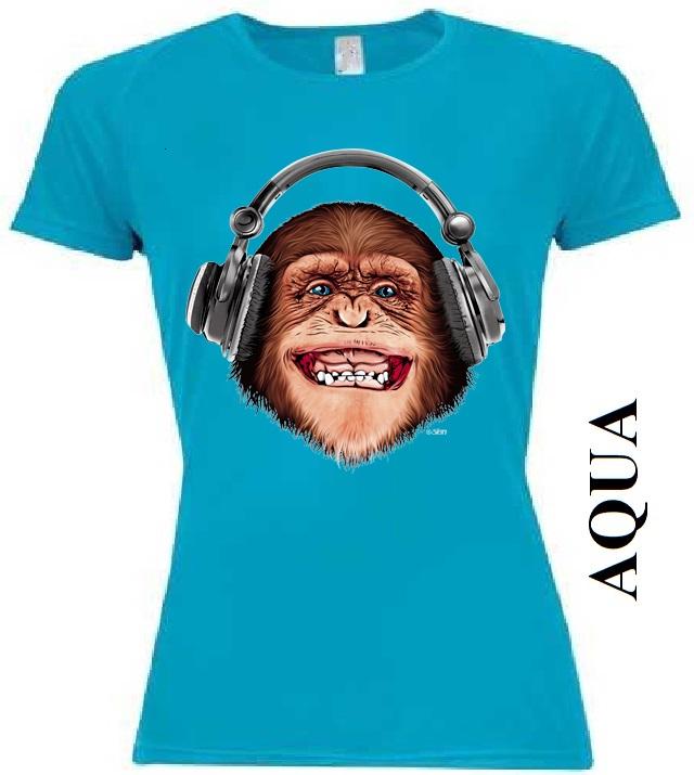 Aqua modré dámské 3D tričko