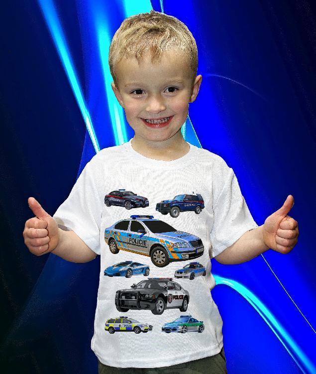 Dětská trička s potiskem policejních aut