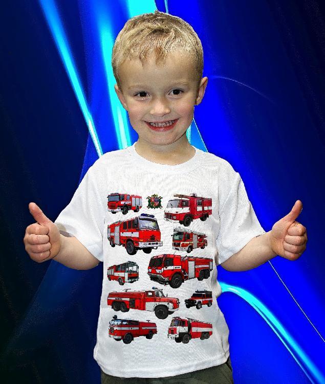 Dětská trička s potiskem hasičské techniky