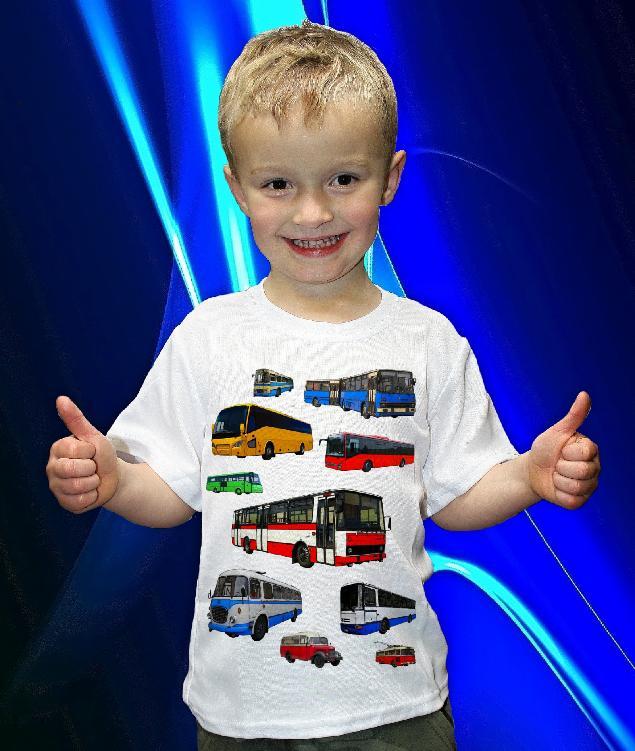 Dětská trička s potiskem autobusy, trolejbusy, tramvaje