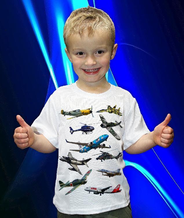 Dětská trička s potiskem letadel a vrtulníků