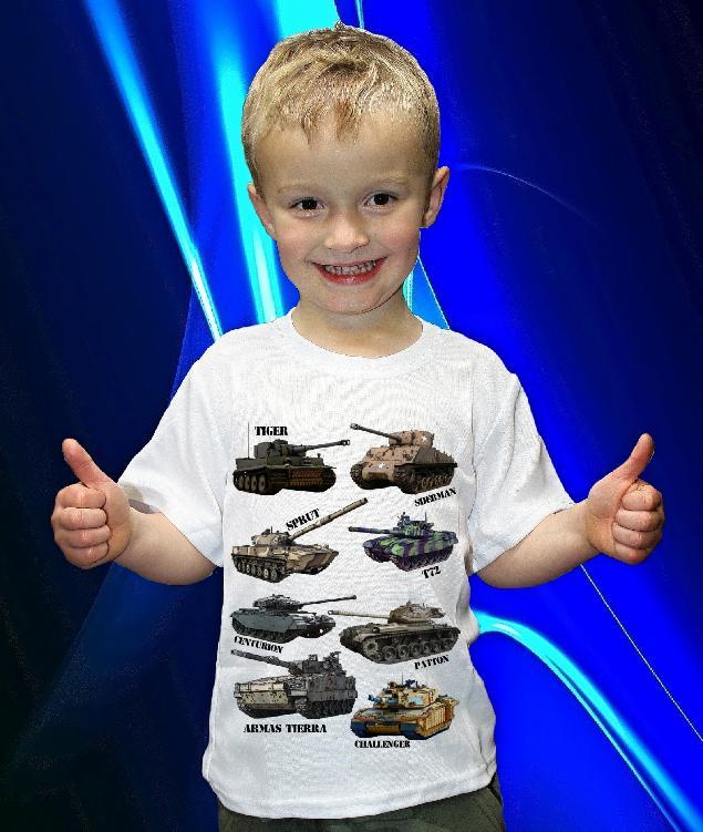Dětská trička s potiskem vojenské techniky