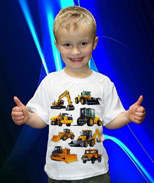 Dětská trička s potiskem strojů a kombajnů