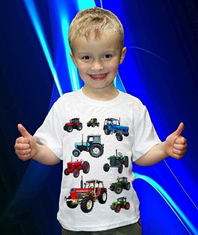 Dětská trička s potiskem traktorů