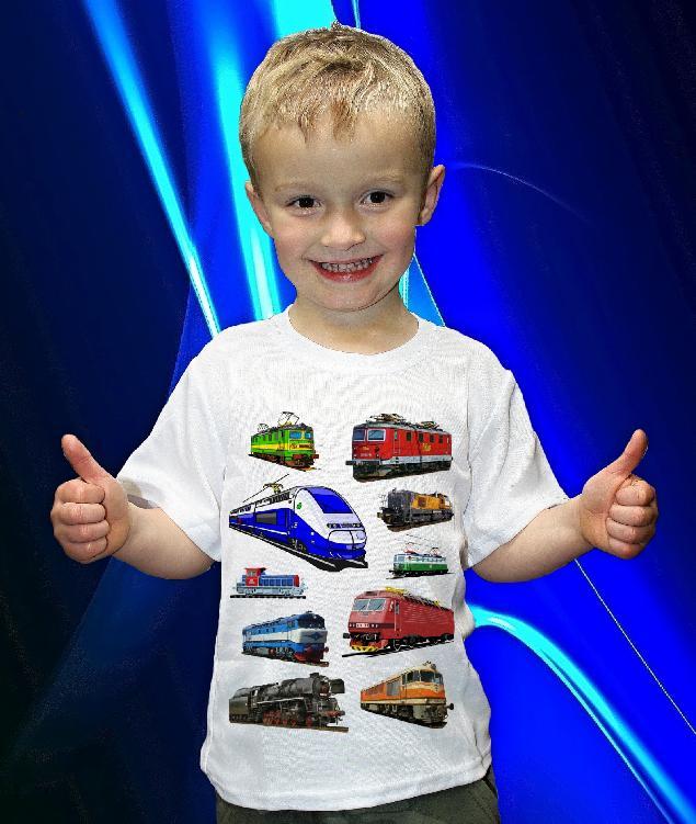 Dětská trička s potiskem vlaků