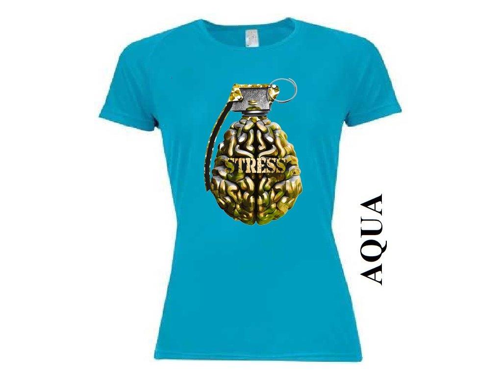 a1a964185e3c Levné bavlněné dámské vtipné tričko aqua modré s potiskem granátu a ...