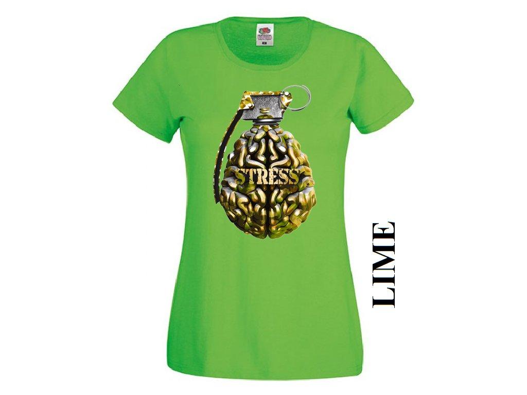 7a9c68c6479f Levné bavlněné dámské vtipné tričko limetkově zelené s potiskem ...
