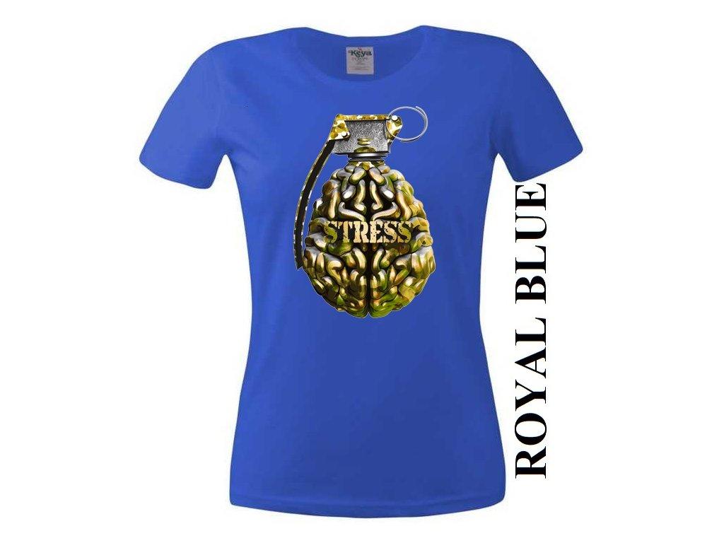 8fc970eb4f8b Levné bavlněné dámské vtipné tričko modré s potiskem granátu a mozku