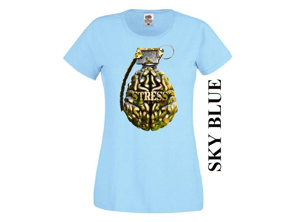 c3eabdf1ac53 Levné bavlněné dámské vtipné tričko světle modré s potiskem granátu ...