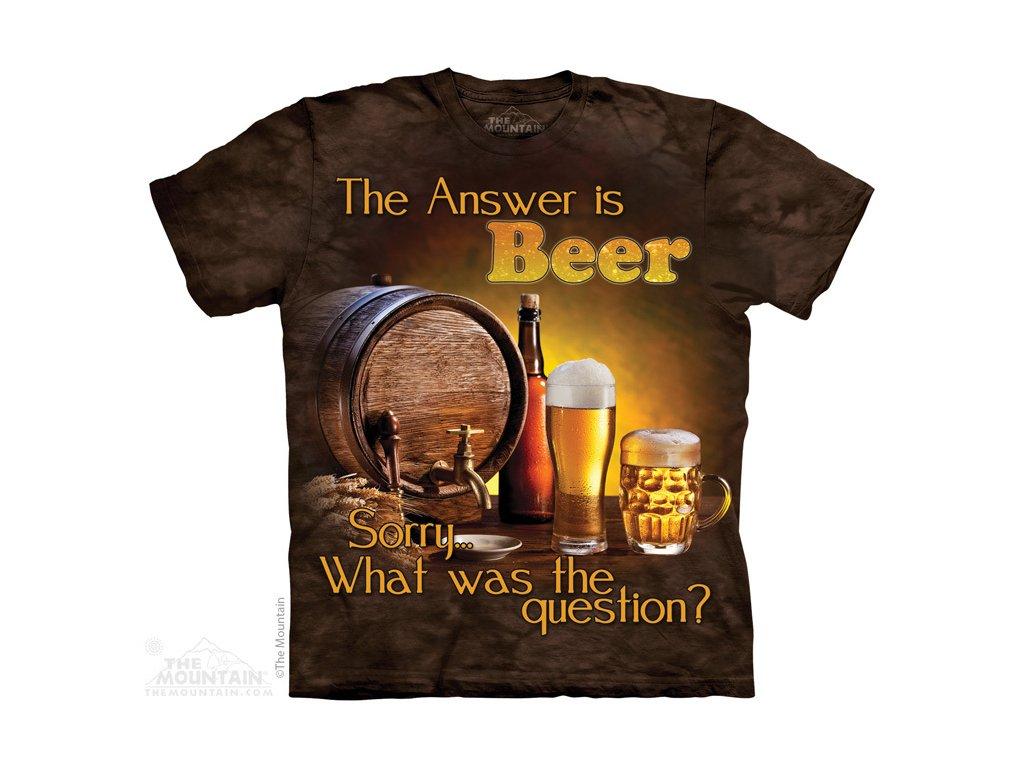 9607f76f365 Tričko s batikovaným potiskem the Mountain s půllitrem piva a sudem ...