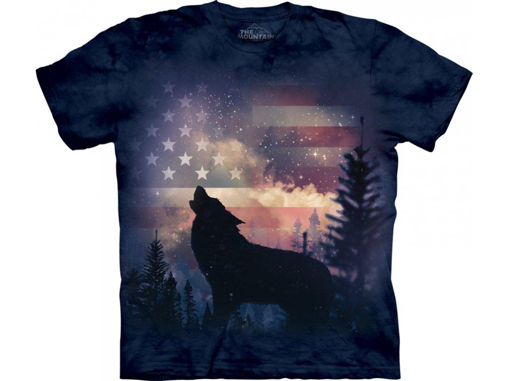 cc4ce1df98f Tričko s batikovaným potiskem the Mountain vyjícího vlka a americké ...