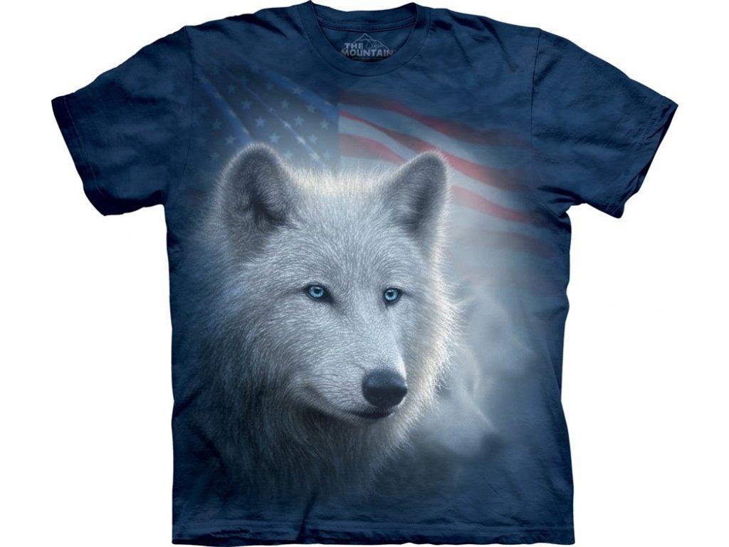Tričko s batikovaným potiskem the Mountain sněžného vlka a vlajky ... a282f16f9c