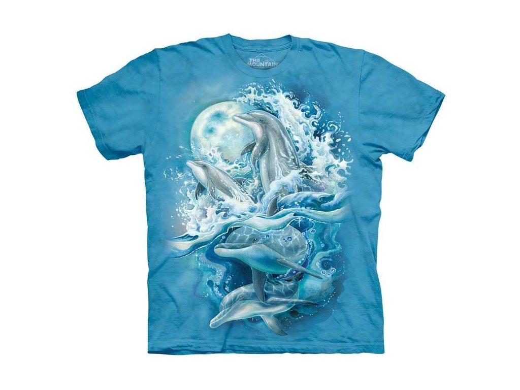 4e5ad58ab3df Tričko s batikovaným potiskem the Mountain hejna delfínů