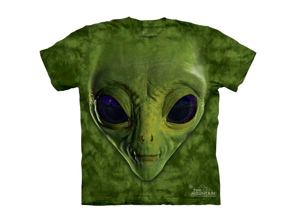 01a41fca450 Dětské bavlněné tričko s batikovaným 3D potiskem zeleného mimozemšťana