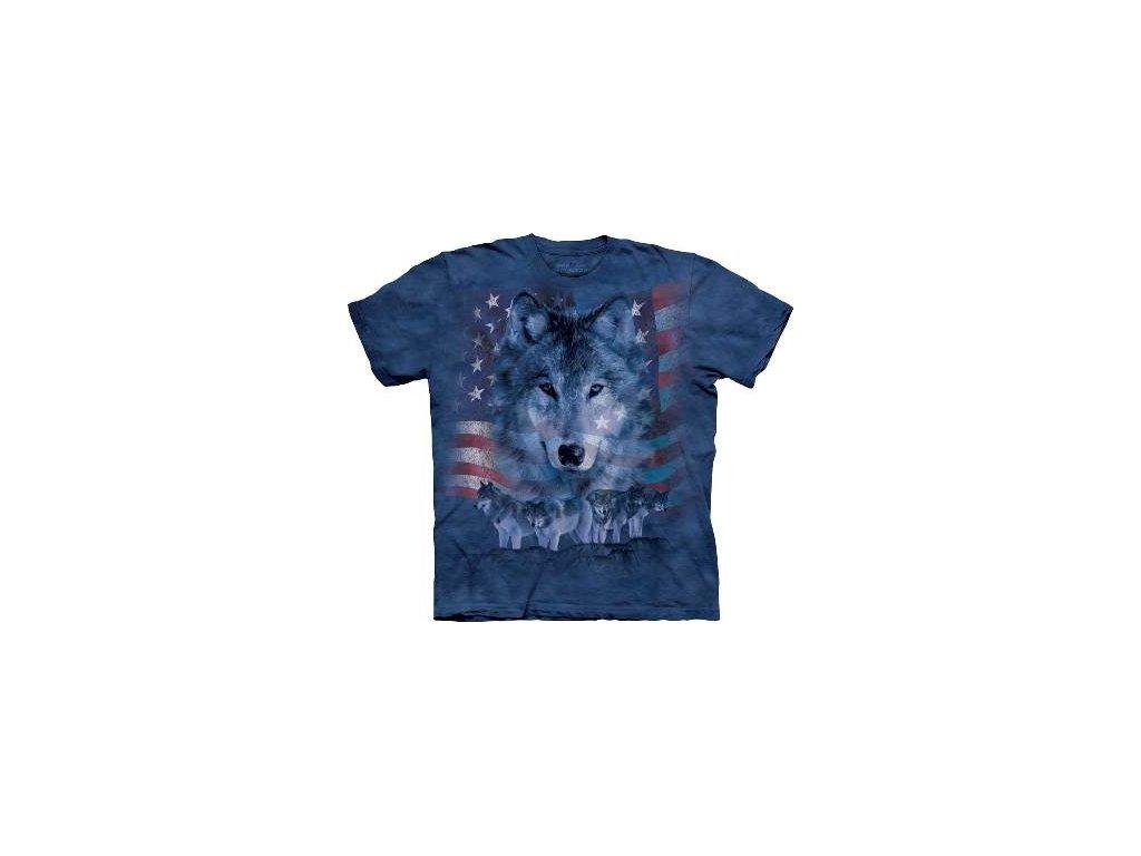 Tričko s batikovaným potiskem the Mountain šedého vlka 86d58ab16d