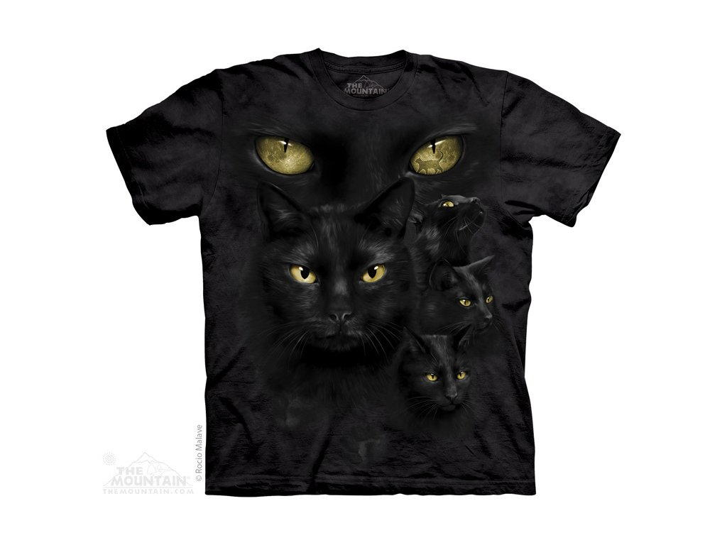 Tričko s batikovaným potiskem the Mountain oči černé kočky a12a054188