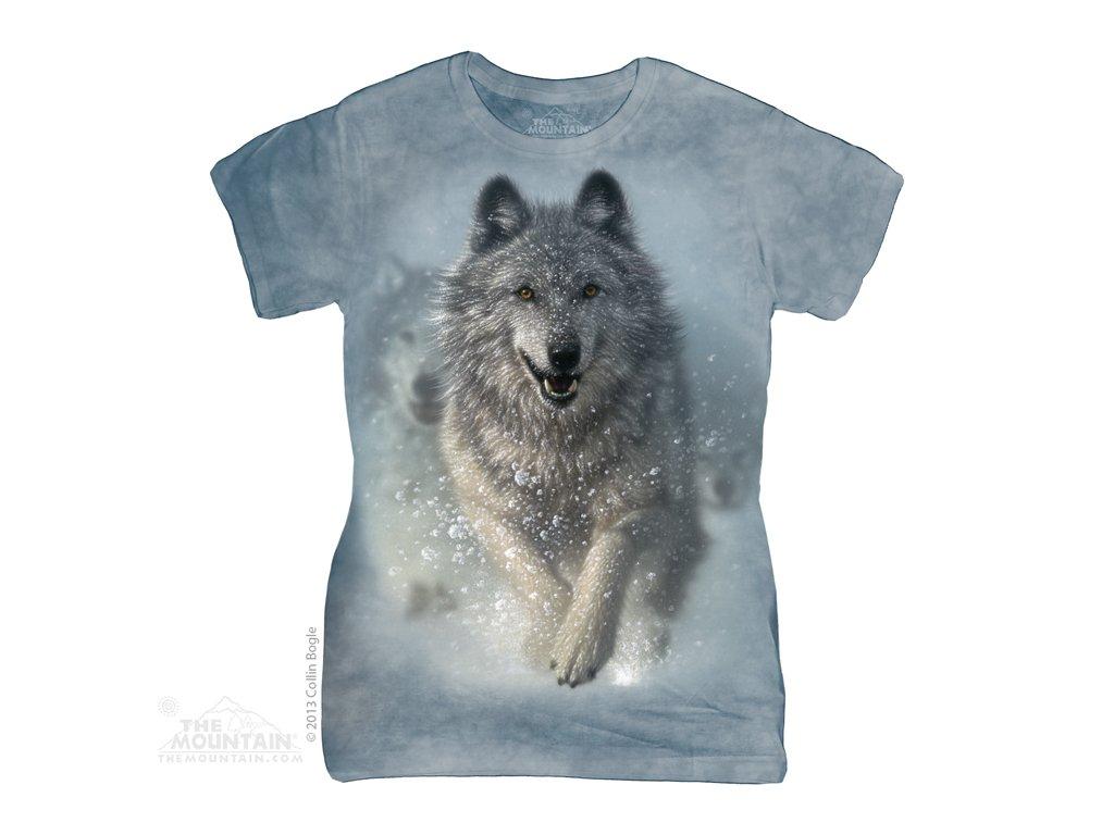 cdd40f97a66 Dámské bavlněné tričko s batikovaným potiskem sněžného vlka