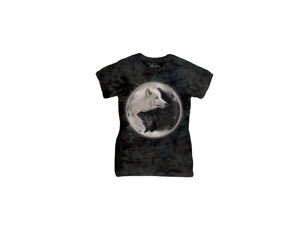 b6f49361971 Dámské bavlněné tričko s batikovaným potiskem vlci jin jang