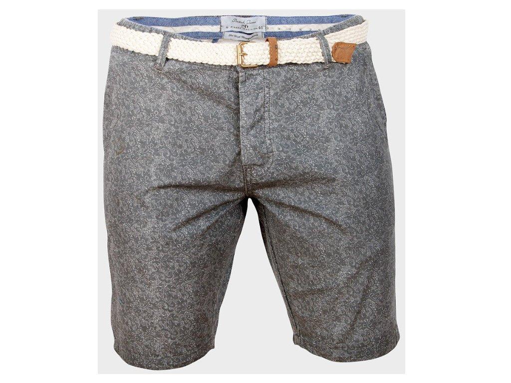 Pánské šortky stříbrné Piazza Italia se vzorem 9a9b477126