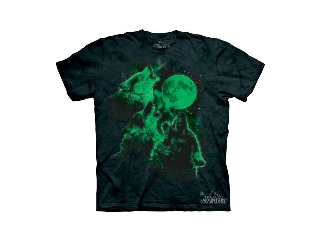 8659c4a37594 Dětské bavlněné tričko s batikovaným svítícím potiskem tří vlků