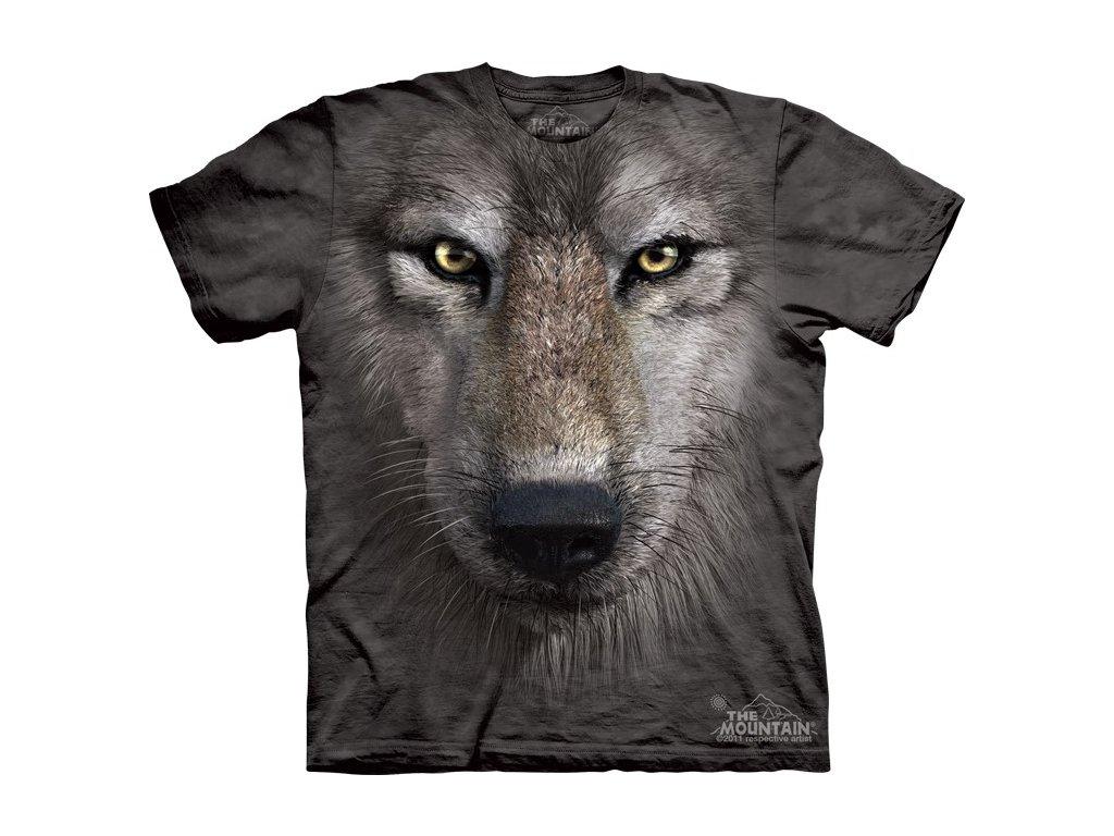 323193e2f31 Dětské bavlněné tričko s batikovaným 3D potiskem šedého vlka