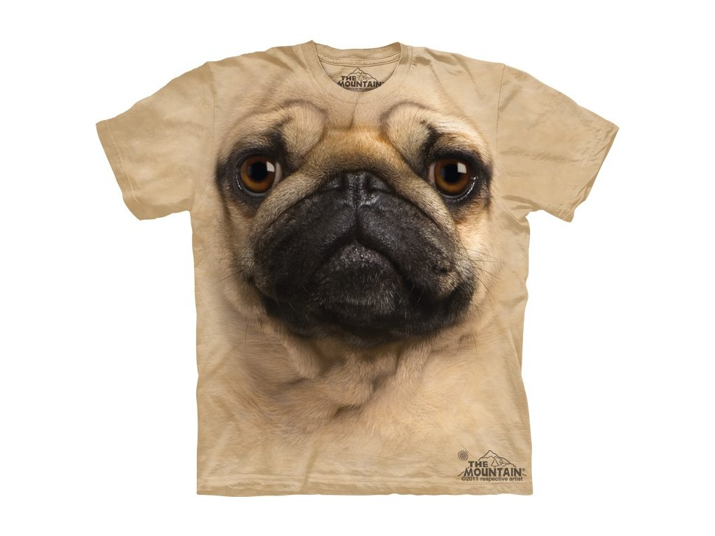76af4faeb62 Dětské bavlněné tričko s batikovaným 3D potiskem psa mopse