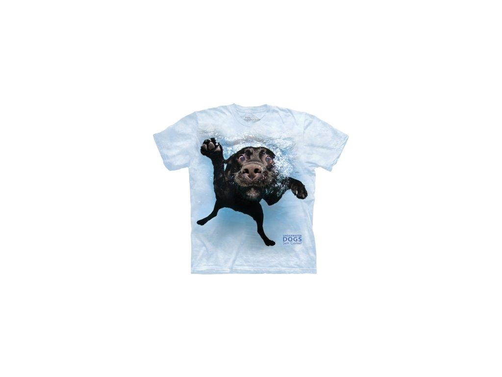 abdd9f4c376 Dětské bavlněné tričko s batikovaným potiskem spokojeného pejska