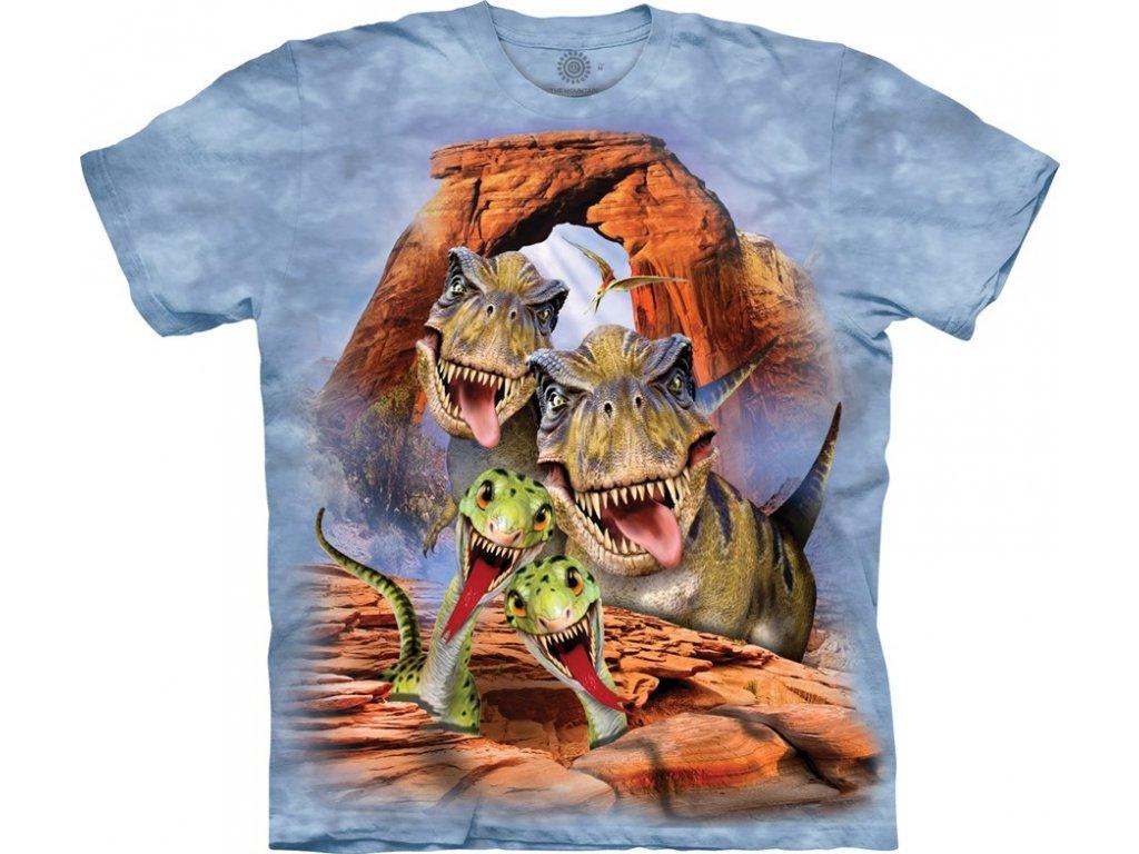 23c984ba48ac Dětské bavlněné tričko s batikovaným potiskem vtipné selfie dinosaurů