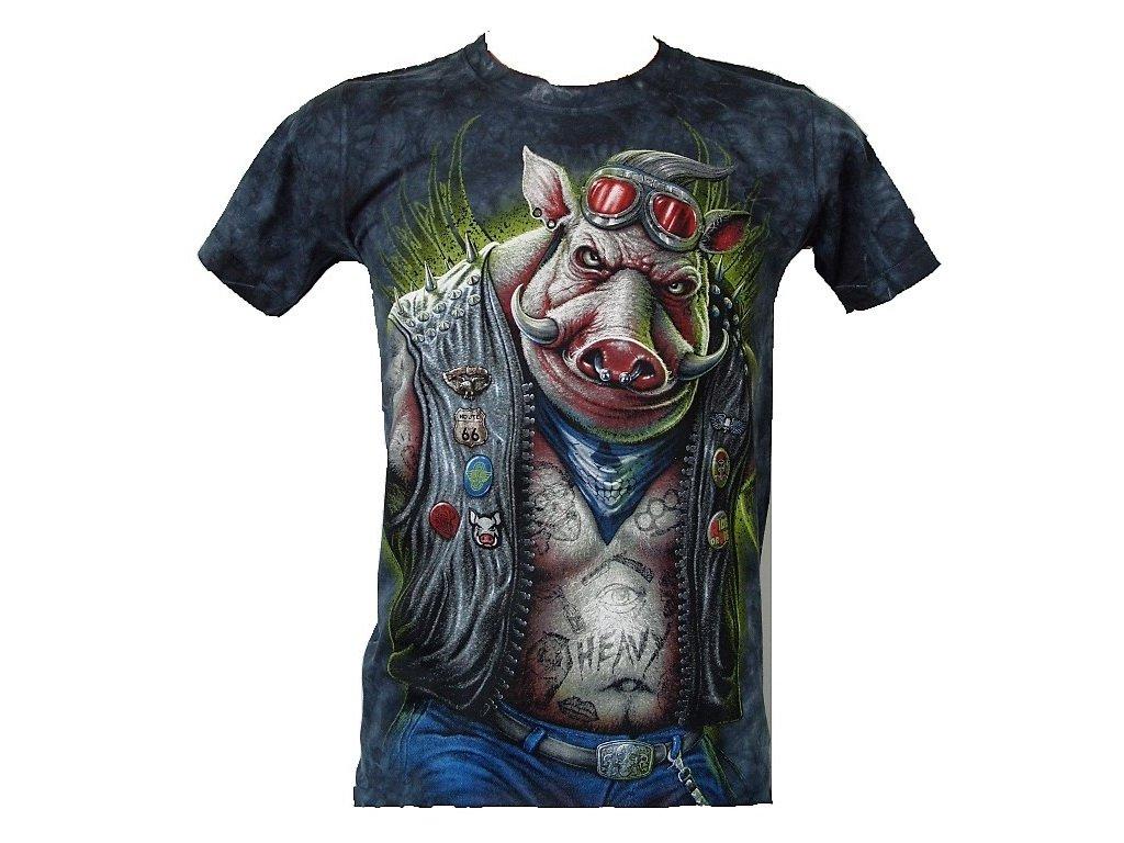 fb59fe08fb66 Vtipné metalové tričko s hororovým potiskem divočáka